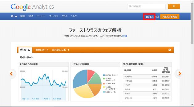 Analyticsのログイン画面