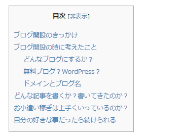 Table of Contents Plusで表示される目次
