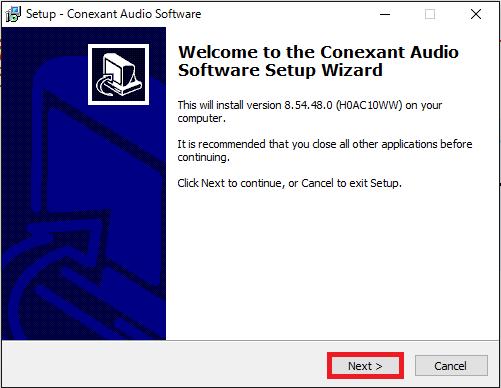 Conexant Audio Softwareのインストール①