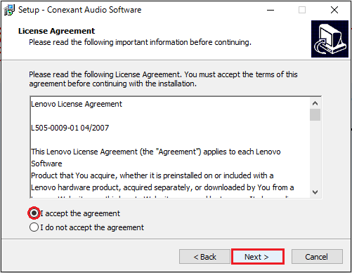 Conexant Audio Softwareのインストール②