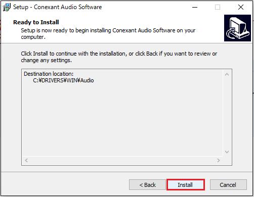 Conexant Audio Softwareのインストール④