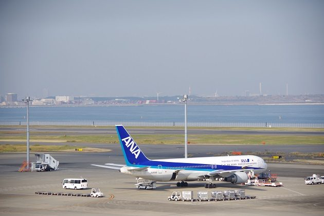 ANA飛行機と東京湾の写真