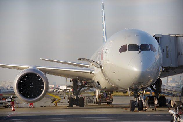 国際線ターミナルで整備を受けていた飛行機の写真