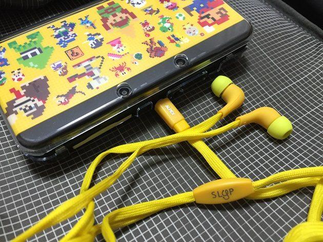 3DSに靴紐イヤホンを装着した時の写真