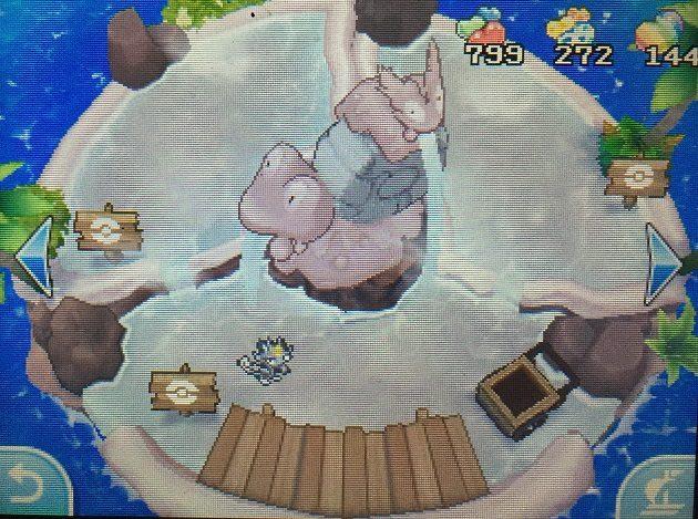 ぽかぽかリゾートの温泉でなつき度を上げるニャースの図