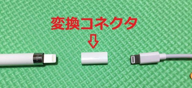 充電方法、変換コネクタの写真