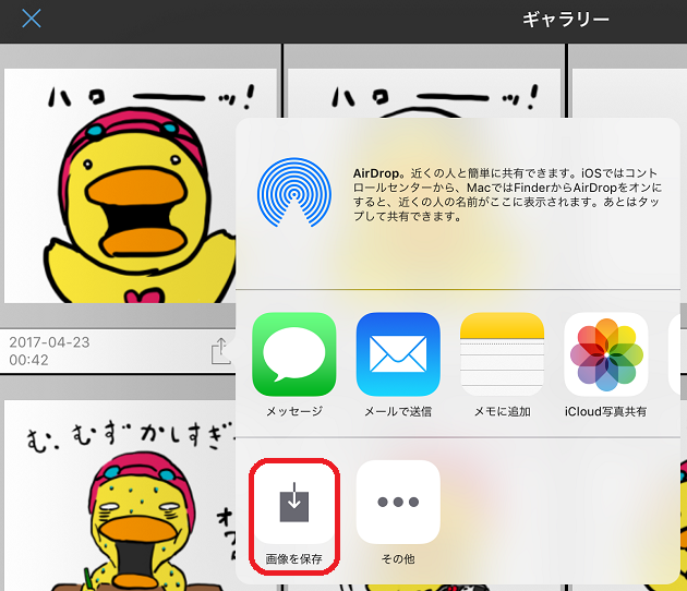iPad Proの写真アプリへと保存する