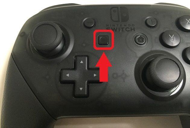 ニンテンドースイッチ、Proコントローラーのキャプチャーボタンの写真