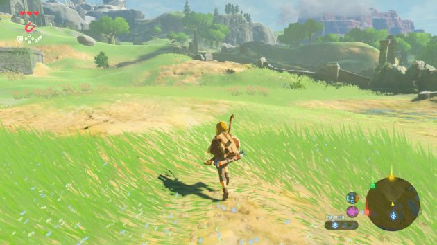 ハイラルの草原を走るリンク