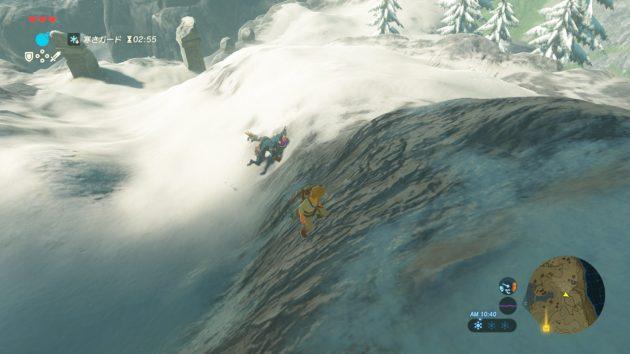 雪原で青ゴブに追われる