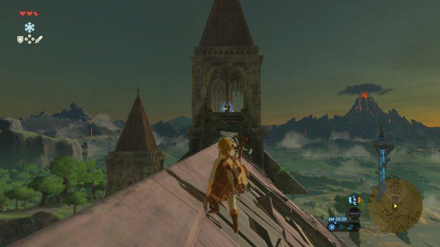時の神殿の屋根に上がるリンク