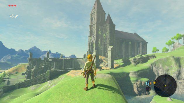 丘から神殿を眺めてみた