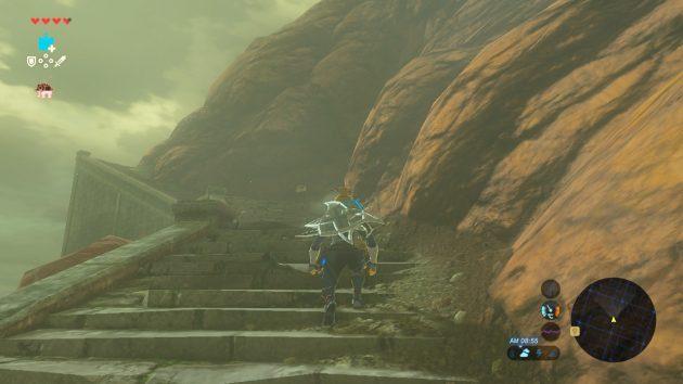 アッカレ砦跡の階段をのぼるリンク