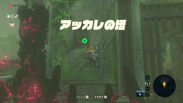 アッカレの塔を登るリンク