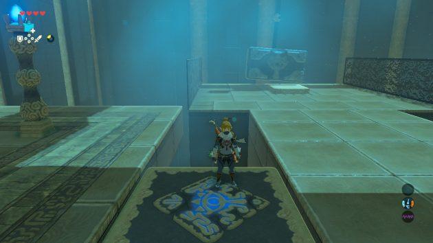 カツ・トサの祠で宝箱を探すリンク