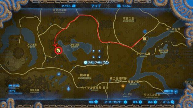リバーサイド馬宿から思い出の場所までの道順、マップ情報