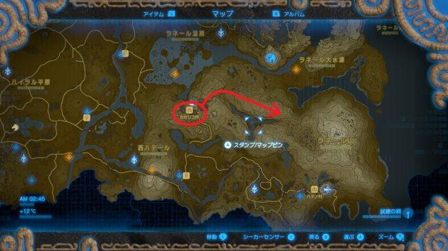 カカリコ村からラネール山脈へ、マップ情報
