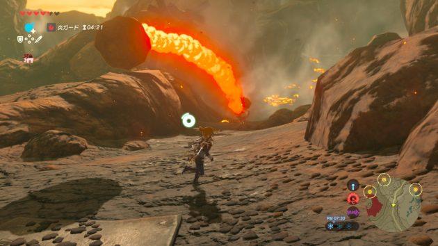 火山弾に逃げ惑うリンク