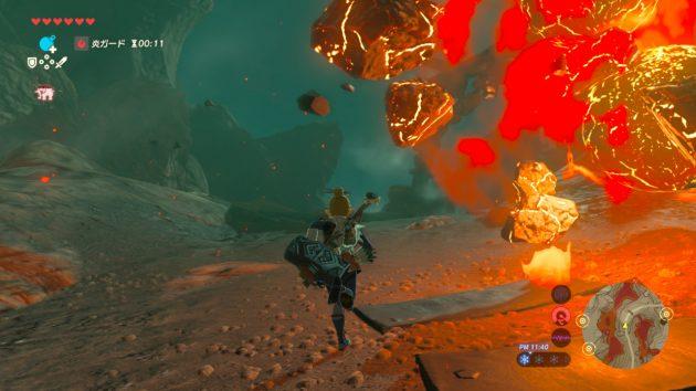 火山弾を避けるリンク