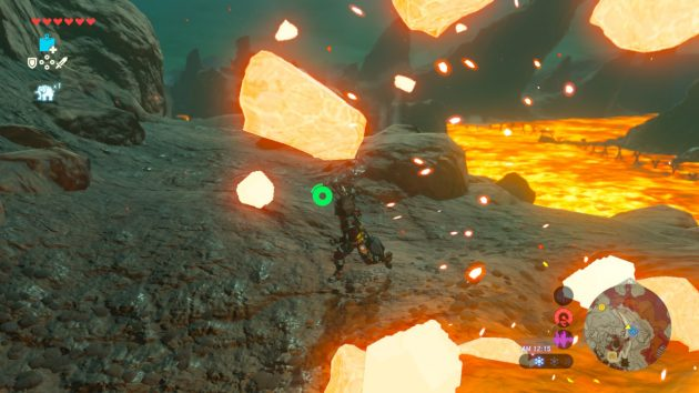 火山弾を潜り抜けるリンク