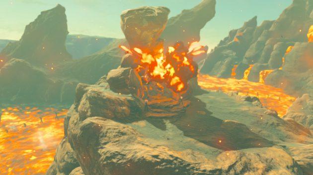 保管庫の岩に大砲の弾が命中