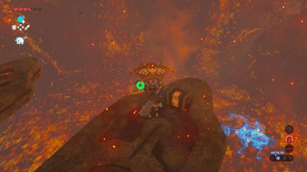 神獣ヴァ・ルーダニアの背びれの宝箱を開けるリンク