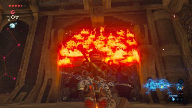 炎上する鉄の扉