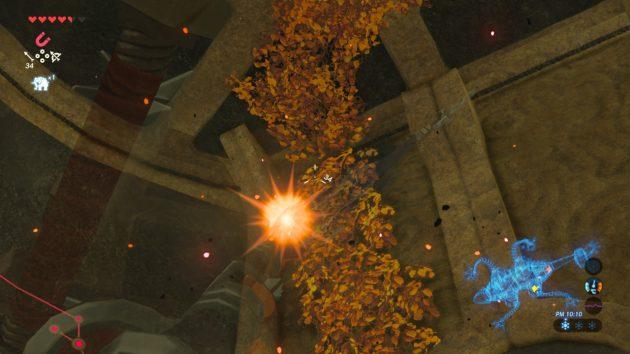 炎の矢で4つ目制御端末部屋の枯れ葉を焼く