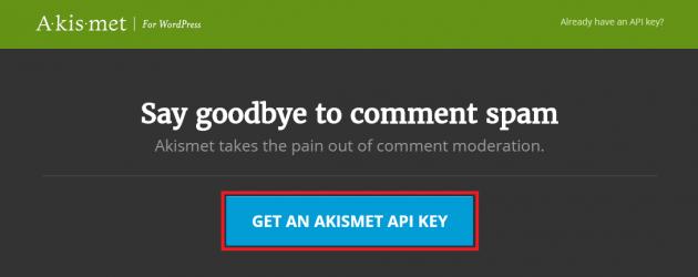 GET AN AKISMET API KEY ボタン