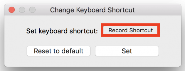 RocketのRecord Shortcutボタン