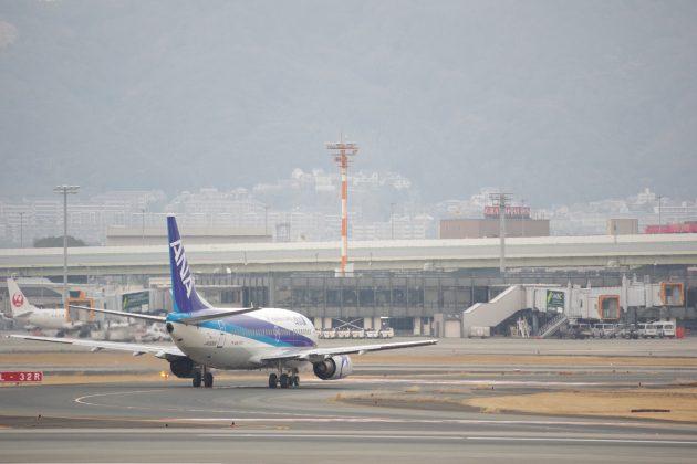 離陸してきたANAの飛行機
