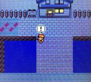 マサキの家の前で釣りをする主人公