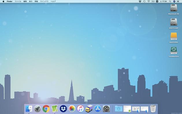 壁紙を変更したデスクトップ画面