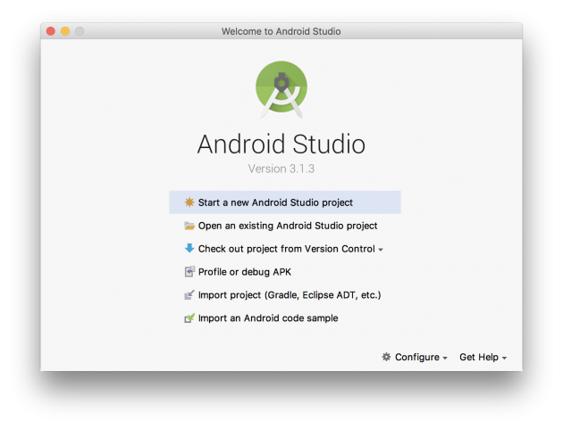 AndroidStudioのWelcome画面
