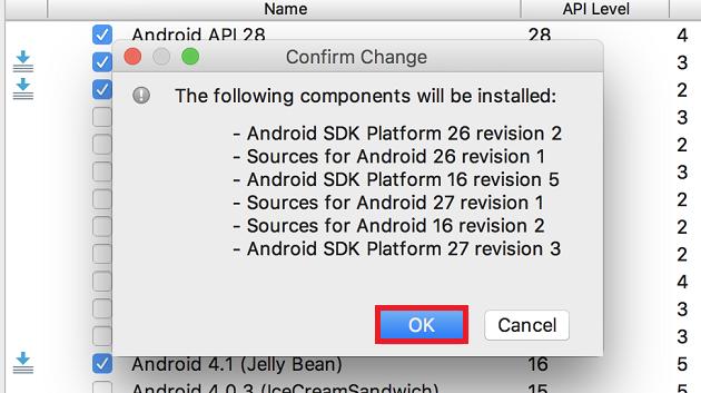 AndroidSDKダウンロードの確認ダイヤログ