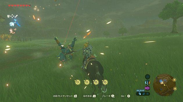 馬に乗りながら斧を振るうリンク