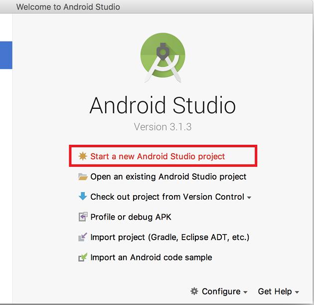 AndroidStudioでプロジェクト新規作成