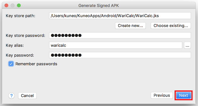 Generate Signed APK Next