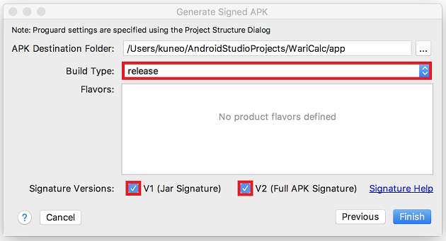 Generate Signed APK Finish