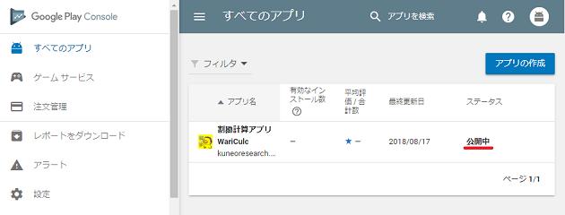 Google Play Consoleのアプリ管理画面