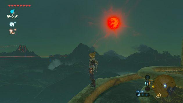 ハイリア大橋に昇る赤い月