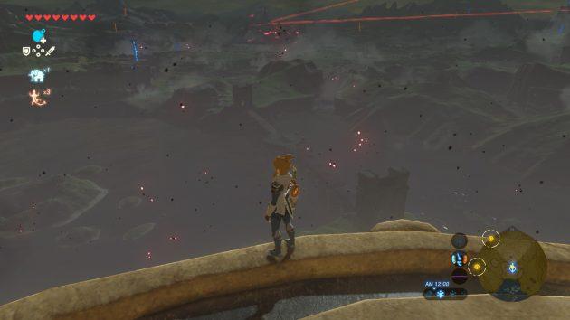 湖の塔と赤き月の夜