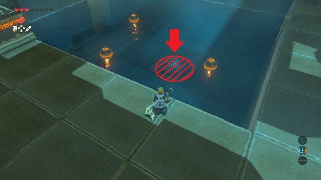 ダタ・クスの祠の水中の鉄お盆