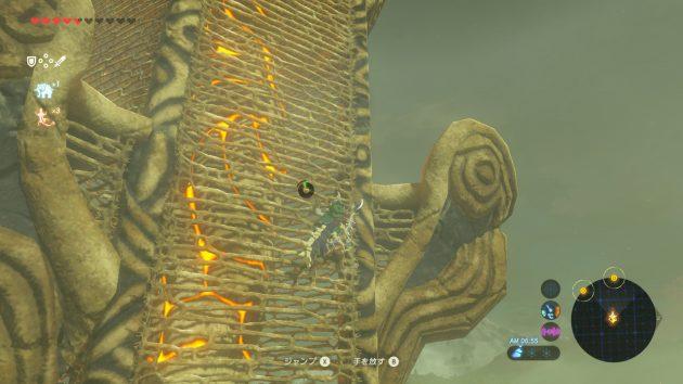 森林の塔を登るリンク