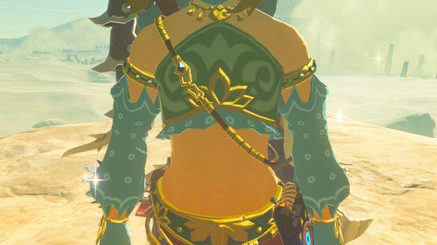 女装したリンクの胸板