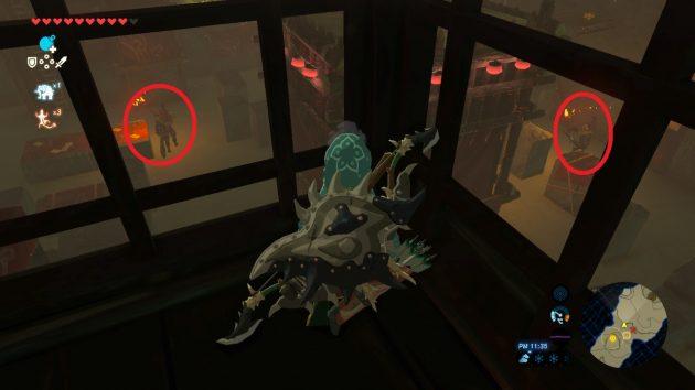 高台から警備兵イーガ団員を確認