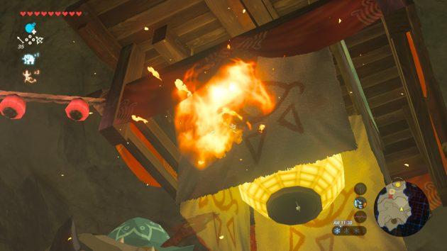 イーガ団の宝部屋に火を放つリンク