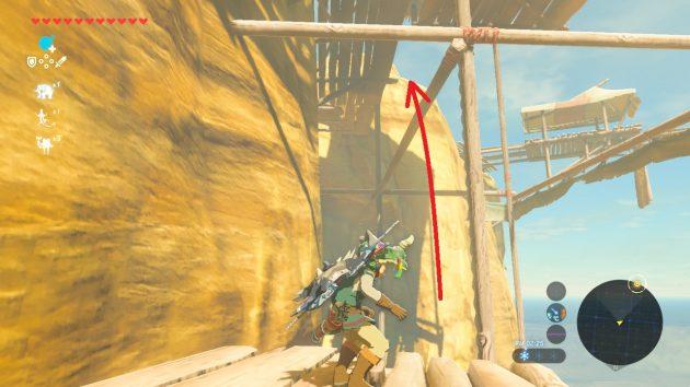 ゲルドの塔の建設現場を通過するリンク