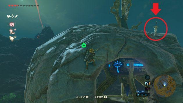 森林の塔に突き刺さっている剣