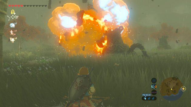 ターリン湿地で爆発炎上するガーディアン